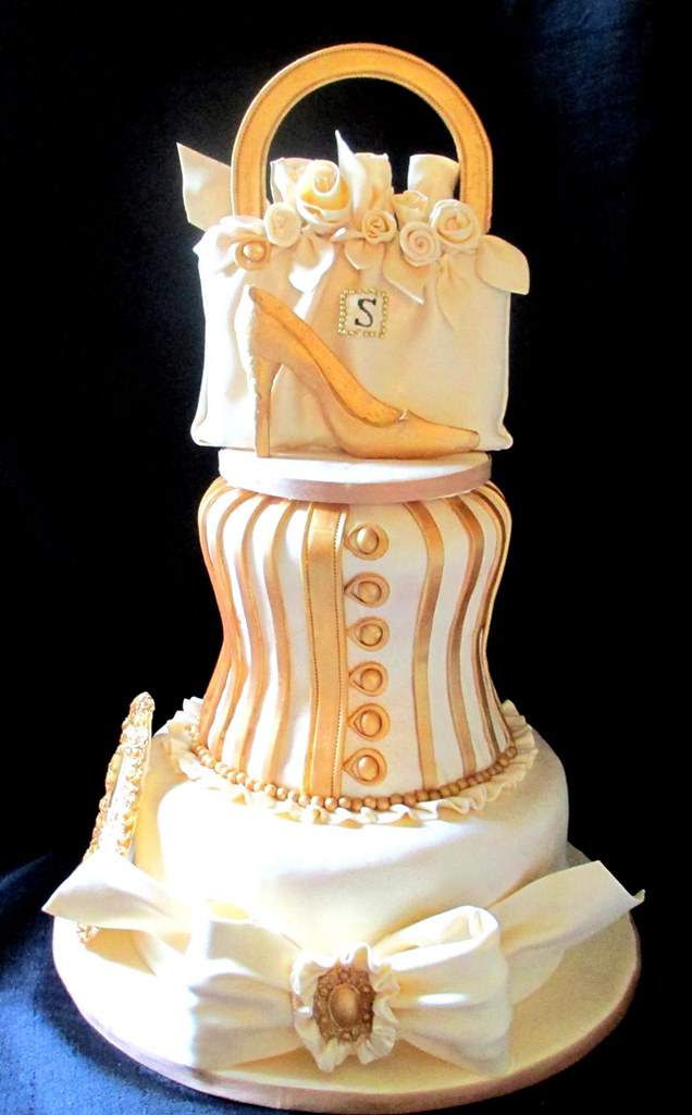 Fashionista Gold Ivory Tiered Cake With Edible Purse Brooch Bow Plaque That Looks Like