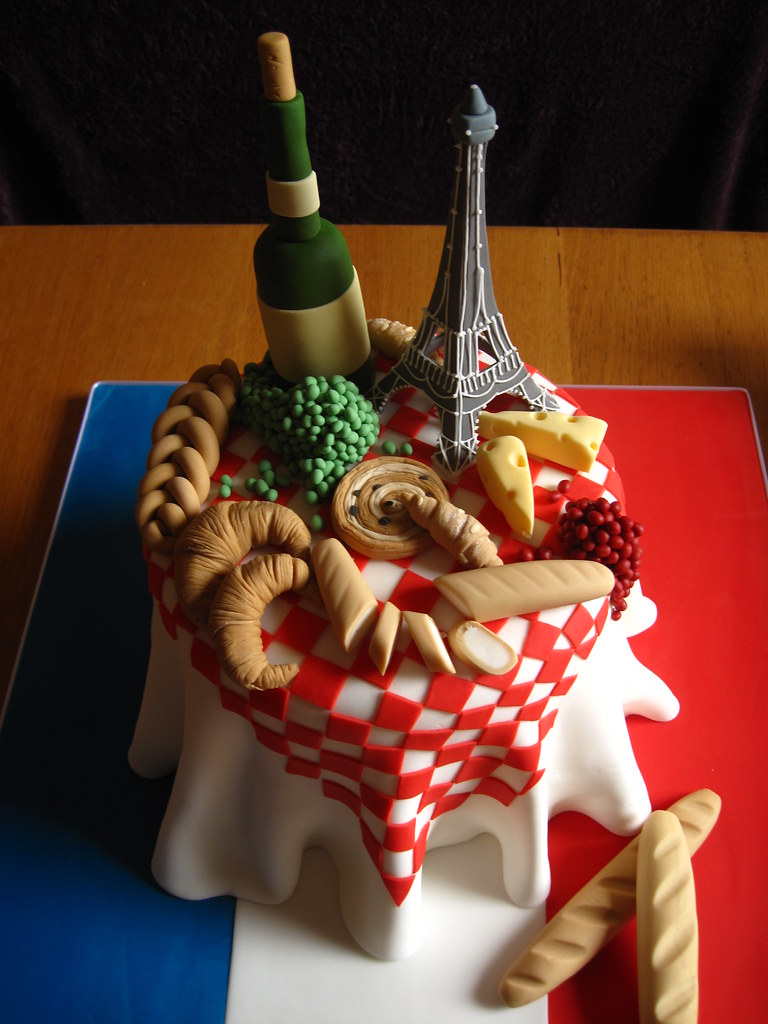 Excellent French Themed Birthday Cake Lyndsey Neill Flickr Funny Birthday Cards Online Overcheapnameinfo