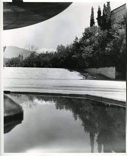 View of mountains with reflection in Bosbyshell Fountain in Clark Hall courtyard in 1947