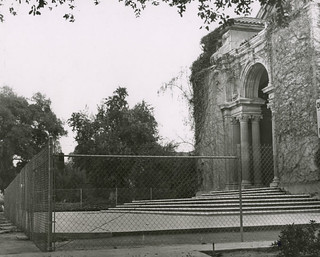 """A fenced-off Bridges Hall of Music awaits the results of the """"Save Little Bridges"""" campaign in 1971."""
