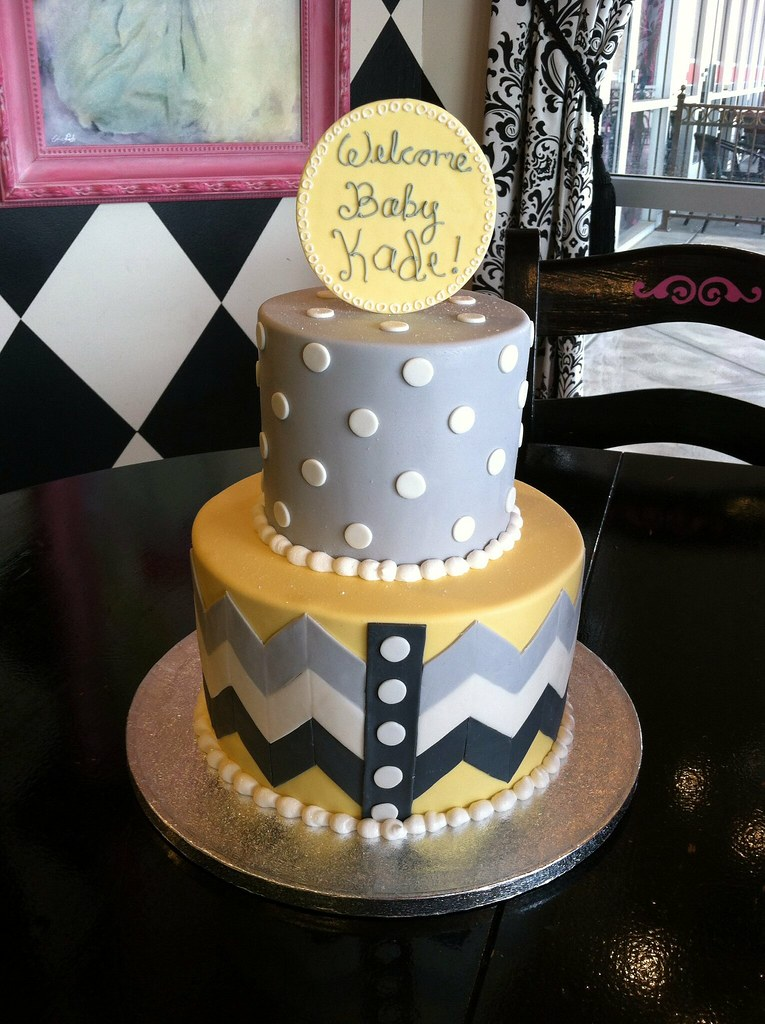 Yellow White And Grey Baby Shower Cake April Flickr