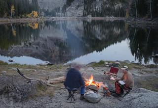 Campfire at the lake's edge