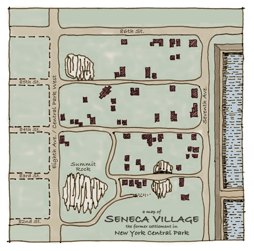Map Of New York In 1800.A Handrawn Map Of Seneca Village The 1800 S Settlement In Flickr