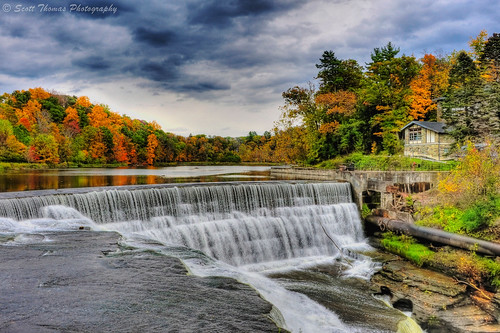 travel autumn trees vacation lake newyork color reflection building brick history water stone clouds campus landscape flow waterfall nikon energy power dam gray pipe falling fallfoliage flowing ithaca hdr fallcreek hydroelectric beebe cornelluniversity photomatix d700 yourphototips scottthomasphotography afsnikkor28300mmf3556gedvr