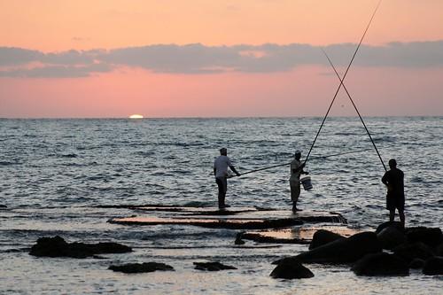 sunset sea lebanon fishermen tyre liban mediteraneansea