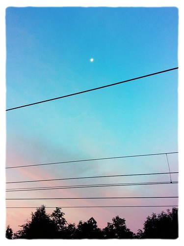 camera pink blue trees sky moon station clouds sunrise railway cables popcam northallerton iphoneography photoforge photoforge2