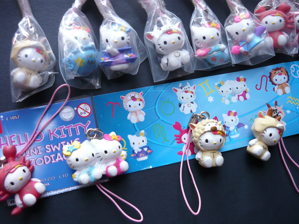 Hello Kitty Masquerade Bandai Mini Swing Zodiac Strap Set