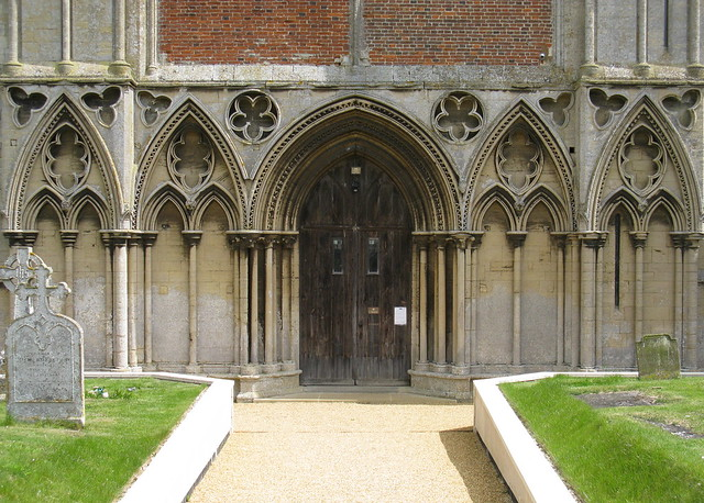 The west front blind arcading and Geometric tracery, the Priory Church of St Mary, Binham, Norfolk, England