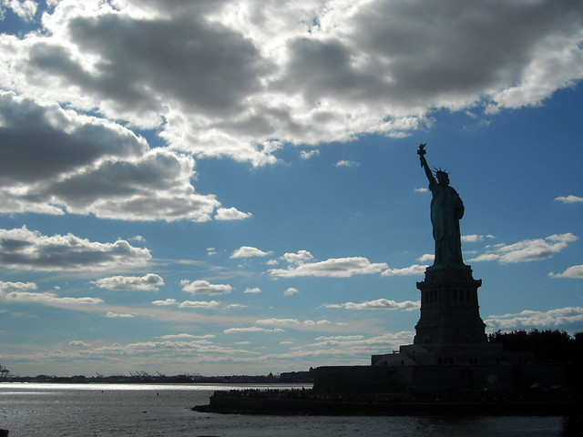 Statue of Liberty under New York cloudy skies