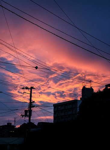 july 11th 2016 japan asia shikoku matsuyama evening nightsky sky orange blue sunset