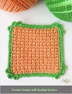 DIY Love: Crochet Coaster with Scallop Corners | by Praew Channel