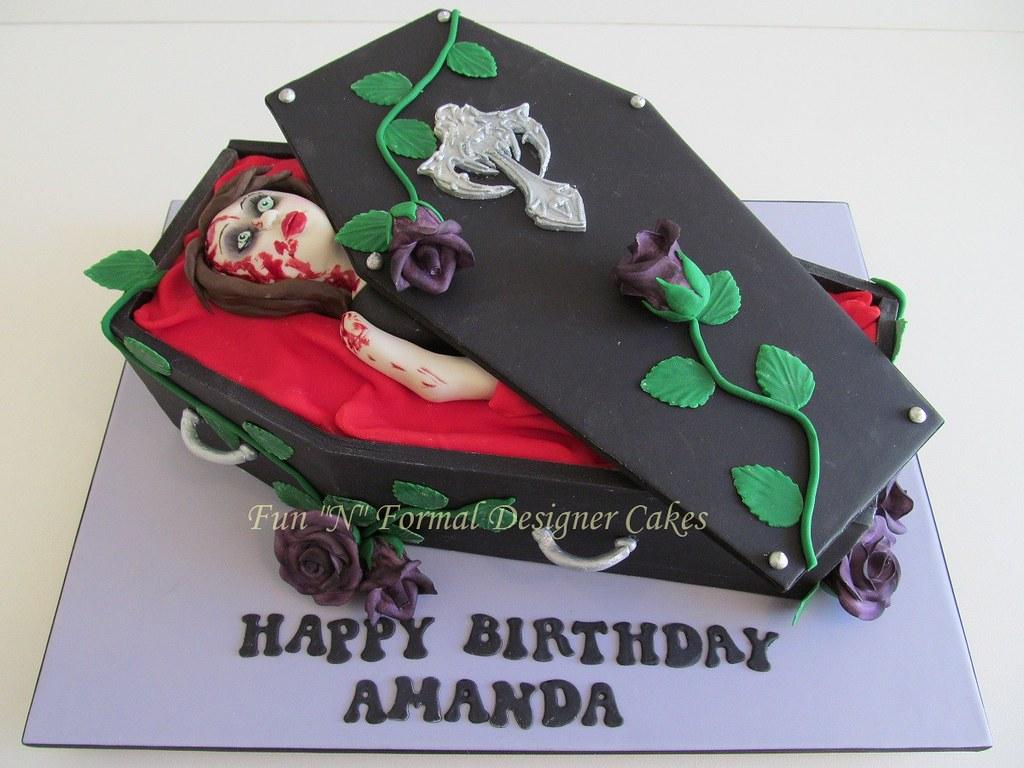 Superb Vampire Living Dead Themed Birthday Cake Melissa Woodward Flickr Funny Birthday Cards Online Overcheapnameinfo