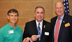 """A special award was made to Matt Kane and Scott Tarkenton from our Assistant District Governor David Hayden of the Capital City Rotary Club.  More about this at <a href=""""http://northraleighrotary.org/club-50th-anniversary-project-bridges-to-success/"""" rel=""""nofollow"""">northraleighrotary.org/club-50th-anniversary-project-brid...</a>  Photo Credit: Gene Hirsch"""