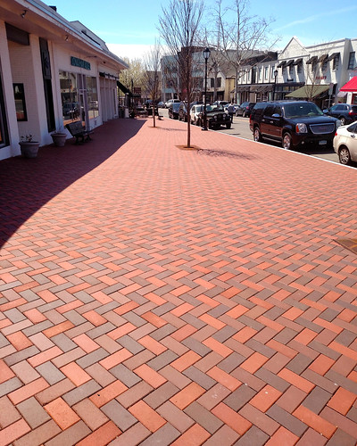 Westport, CT Streetscape 4x8x2.25 Bevel Lug Blend 30 Clear Red, 32 Antique, 33 Dark Antique (1) | by Whitacre Greer