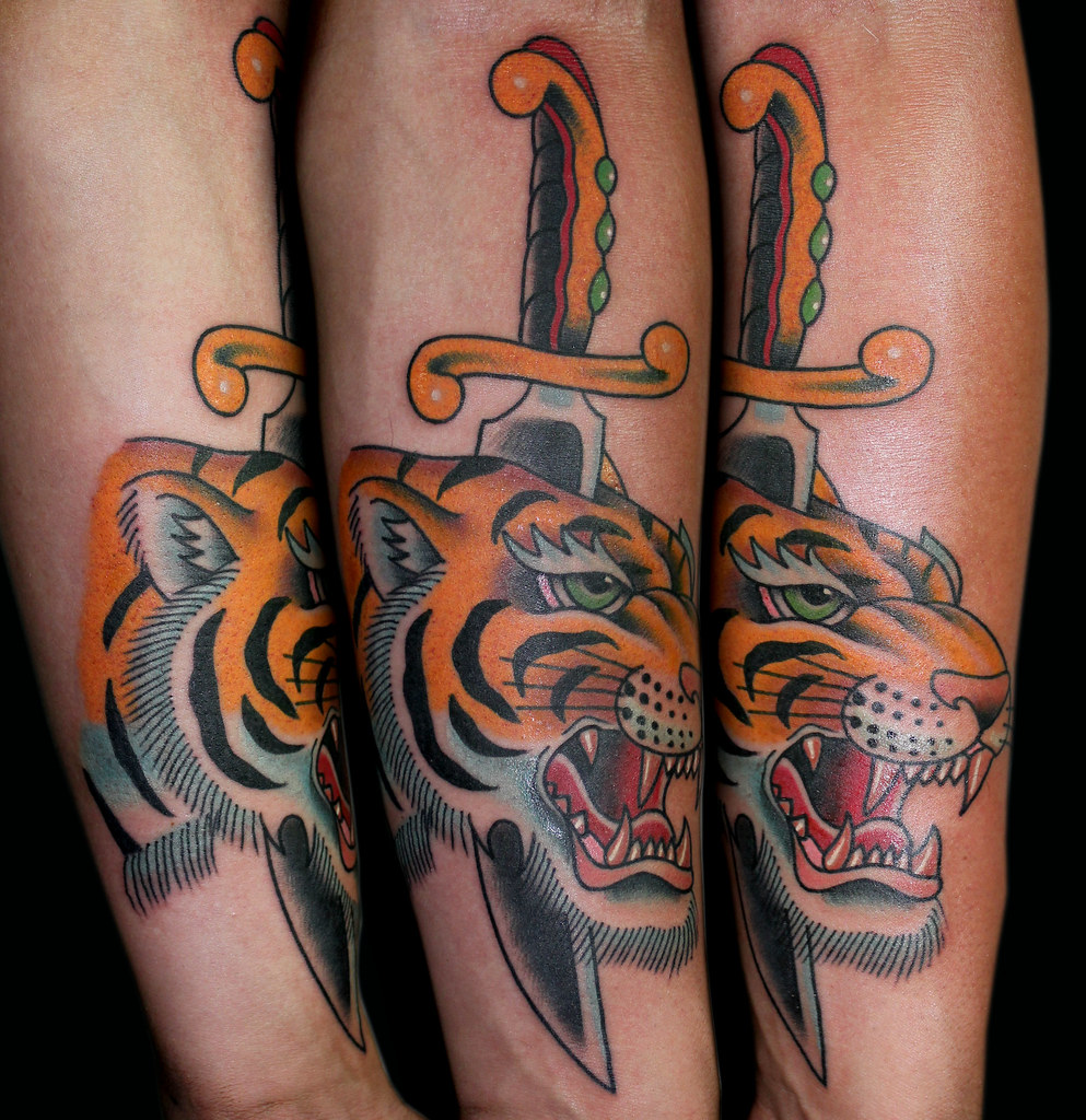 tiger dagger tattoo myke chambers | Tattoos by Myke Chambers… | Flickr