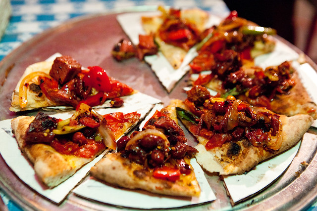 The Kung Pao Pastrami pizza (PizzaMoto & Danny Bowien of Mission Chinese collaboration)