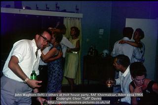 John Waghorn (left) + others at Holt house party, RAF Khormaksar, Aden circa 1966