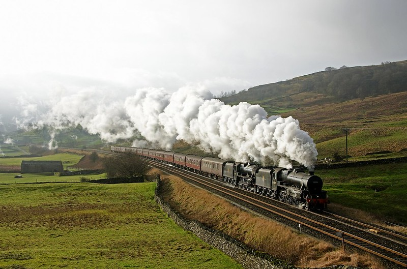Black 5s 44871 and 45407 approach Horton-in-Ribblesdale with the Winter Cumbrian Express from Manchester to Carlisle on Jan 23rd 2016  copyright David Price.Please do not use this image without my permission