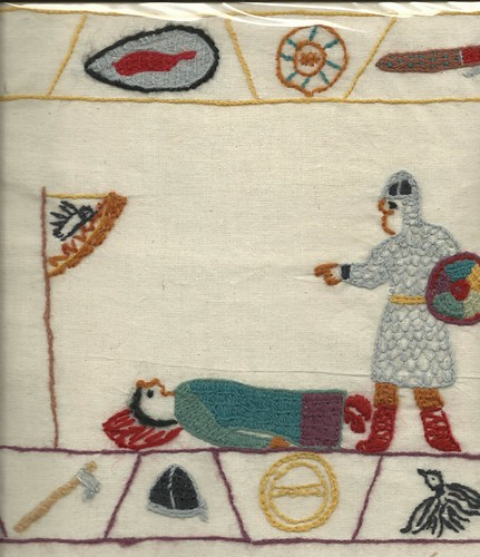 (Plastic-wrapped) From the Bayeaux Tapestry, maybe | by Stamford Bridge Tapestry Project