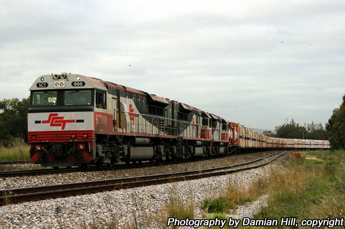 SCT008 hauls a freight train at Mile End by baytram366