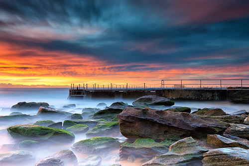 ocean longexposure seascape water clouds sunrise rocks sydney australia nsw newsouthwales northernbeaches curlcurl brucehood