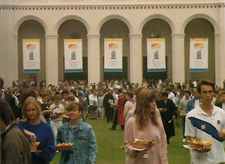 Students dining on the Quad during the Centennial celebration, Founders Day 1987