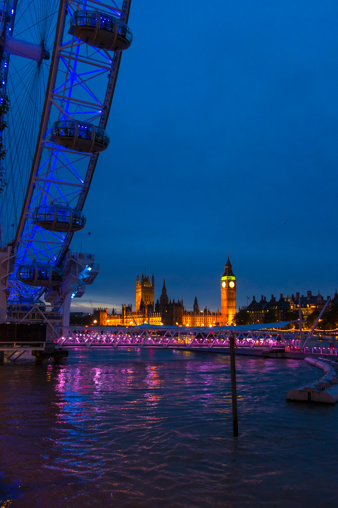 London Eye with Thames River and Big Ben aka Elizabeth Tower