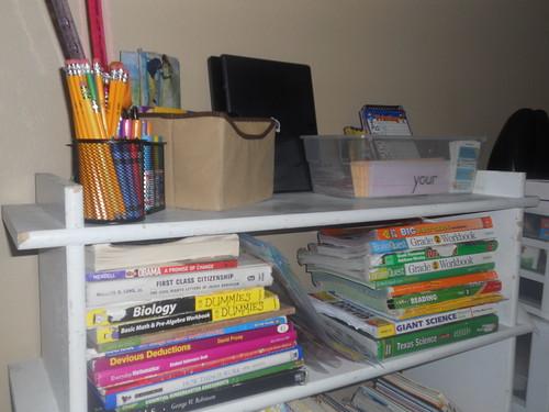 Homeschool Supplies on Shelf | by Lyn Lomasi