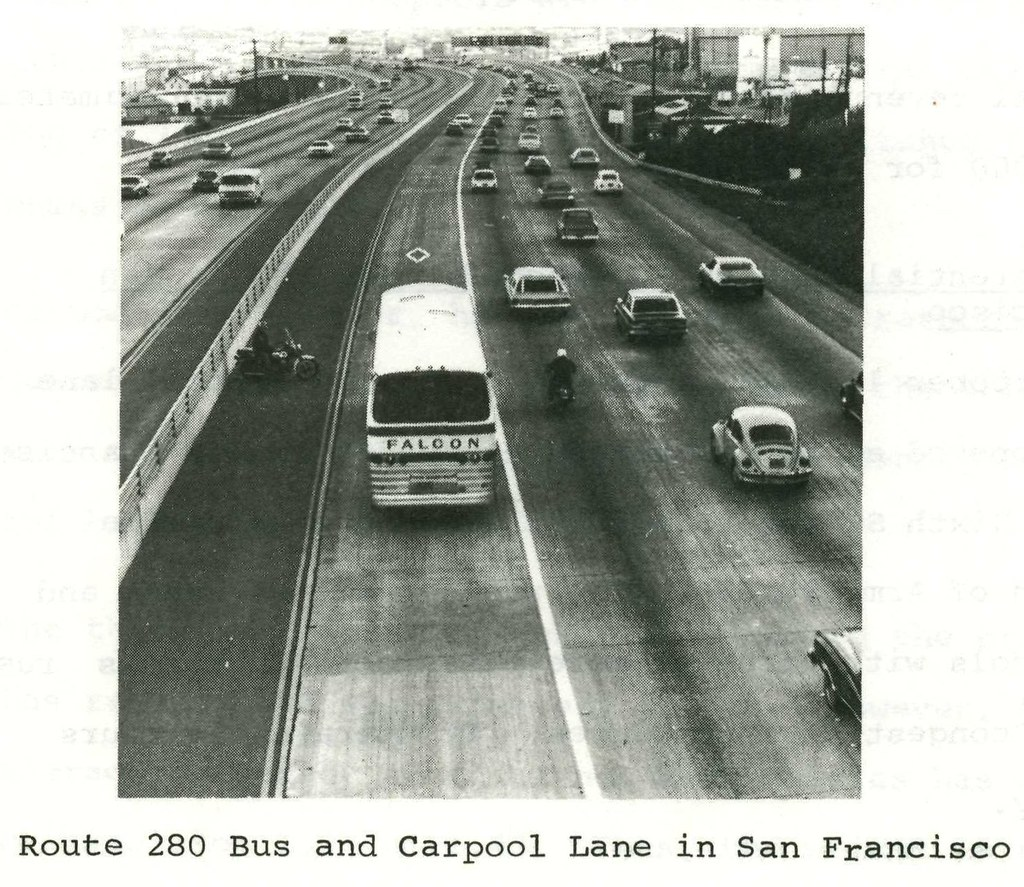 Route 280 bus and carpool lane in San Francisco (1975) | Flickr