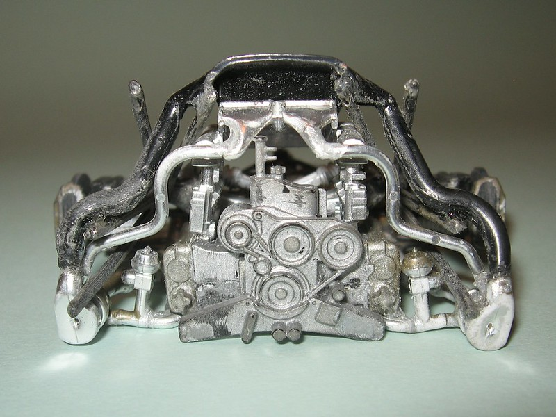 Tamiya Porsche 911 GT1 filing & cleanup. Front of engine, serpentine belt, turbos, waste gates and air ducts,