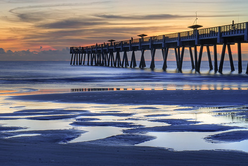 ocean reflection beach sunrise pier fishing florida jacksonville jax jacksonvillefishingpier