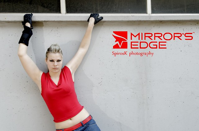 Eva as Celeste from Mirror's Edge: training