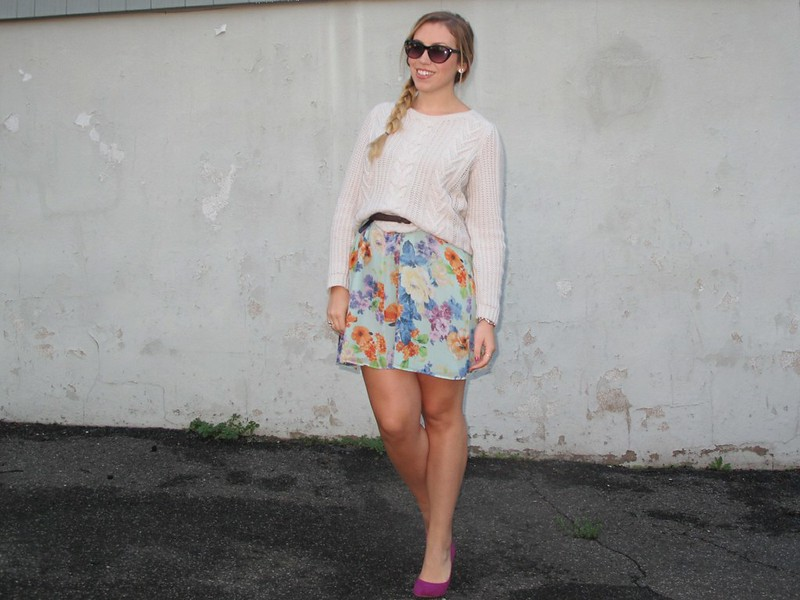 White Cable Knit Sweater | Blue Floral Skirt | Outfit 2012 | A Look Back at 10 Years of Blogging Living After Midnite Blogger Jackie Giardina