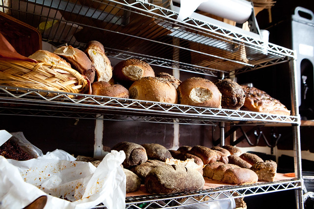 Shelves of bread to sell