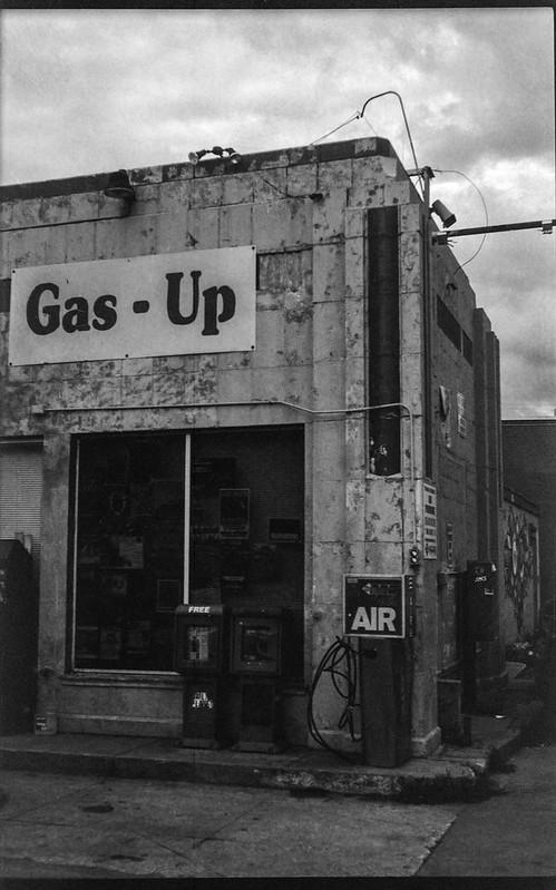 Gas Up service station III, near dusk, West Asheville, North Carolina, Ercona II, Fomapan 200, Ilford Ilfosol 3 developer, 7.14.18