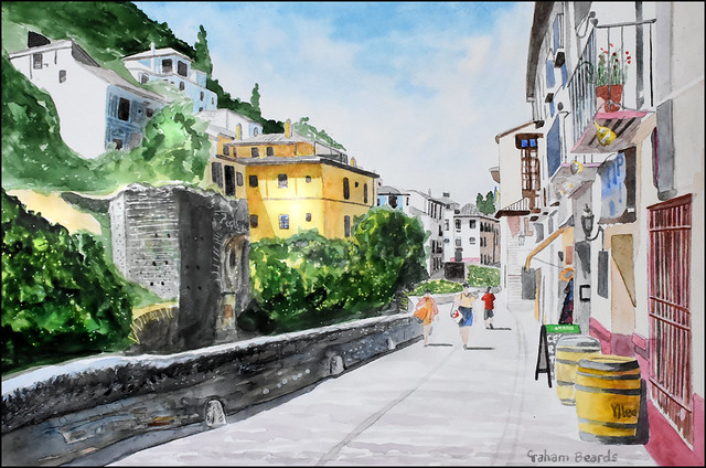Carrera Del Darro, Granada, Spain, Watercolour