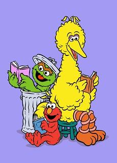 Big Bird Oscar The Grouch And Elmo Reading Cartoon Postc