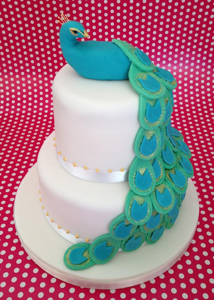 Admirable Peacock Birthday Cake 2 Tiers Of Chocolate Cake With Handm Flickr Personalised Birthday Cards Veneteletsinfo