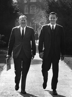 Former President E. Wilson Lyon and new President David Alexander in 1969
