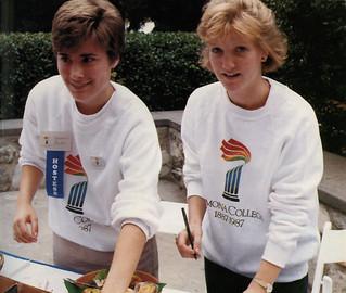 Allison Keeler '90 and Kirsten White '87 work as hostesses during the Centennial celebration.