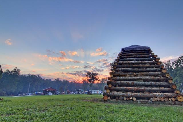 Bonfire woodpile sunset, Little River Preserve, Lookout Mountain, GA