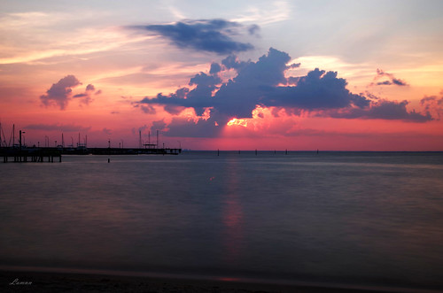 fairhope alabama mobile pier sunset colors clouds water bay evening seascape longexposure pentax k50 sigma 1750mm