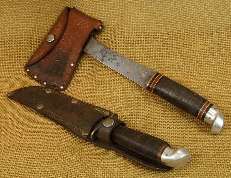 RD14019 Vintage Western Knife & Hatchet Combo Boulder, Colo. DSC05378