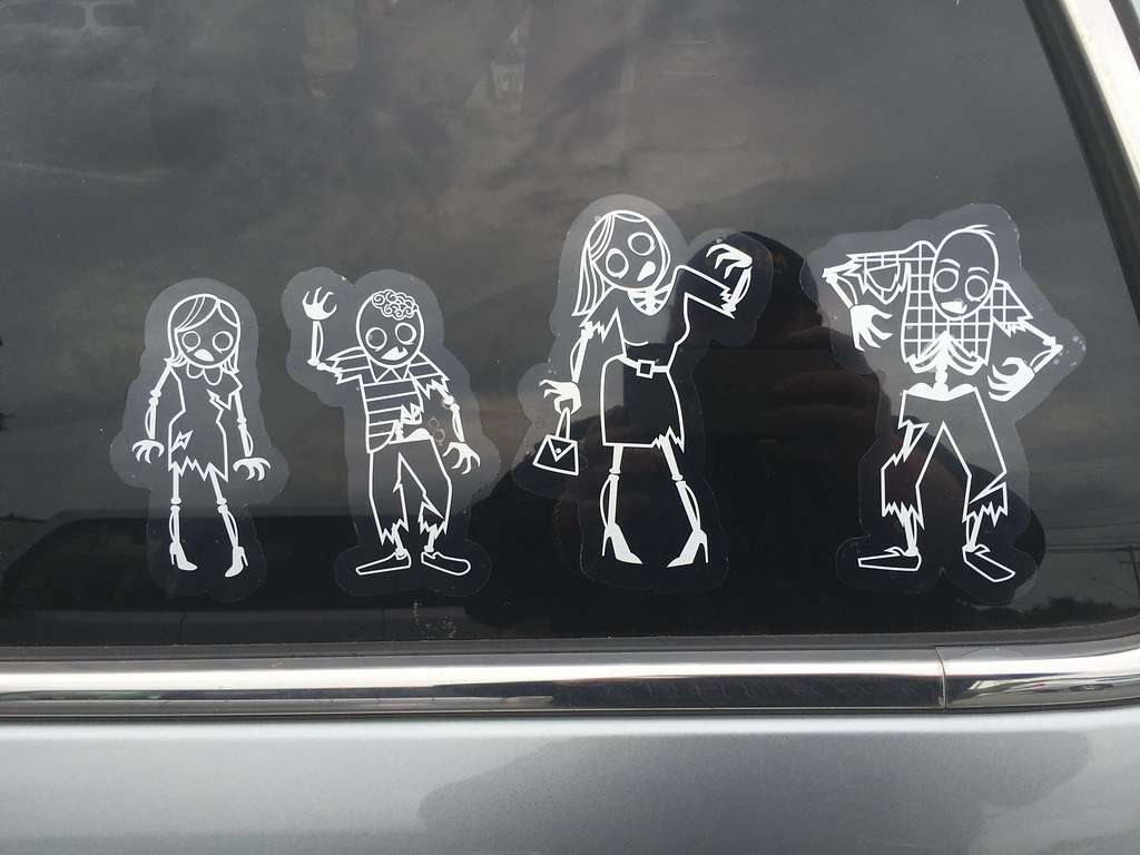 Zombie family car rear window stickers 9 2016 pics by mike mozart of
