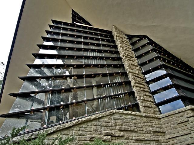 Windows Showing Organ, Unitarian Meeting House, Madison, Wisconsin, Frank Lloyd Wright, Architect