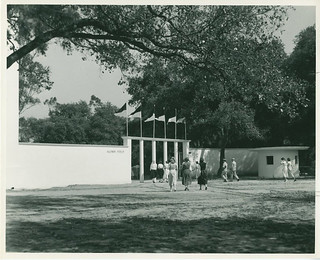 The entrance gate to Alumni Field circa 1952