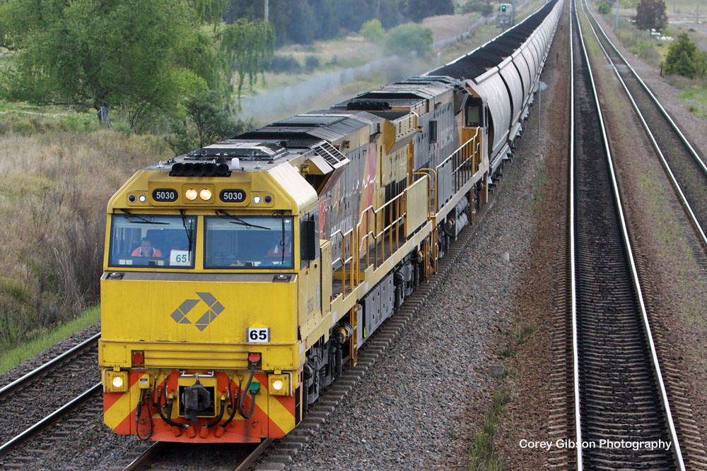 5030 & 5009 load of coal through Tarro by Corey Gibson