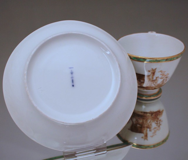 KPM, Berlin, Tasse, Marmor, Stein Imitat, faux marbre, Rehe, Hirsche, Wild, 1800