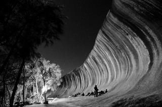 Midnight at Wave Rock