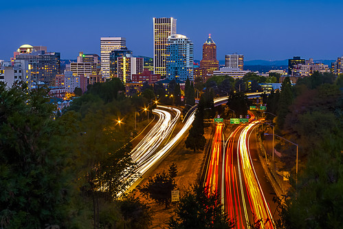city longexposure skyline night oregon portland downtown cityscape traffic tunnel clear explore lighttrails bluehour hdr vistaridge goosehollow 3xp digitalblending sunsethighway